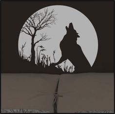 Howling GRAY WOLF and FULL MOON Vinyl Wall Decals Stickers art graphic
