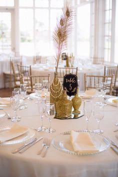 Gatsby Wedding Decor Gatsby Wedding Theme Great Gatsby Theme Gold Wedding Summer Wedding Carmel Mountain Ranch Country Club San Diego Wedding Table Numbers Table Layout Gold Centerpiece Pearl Centerpiece #weddingdecoration