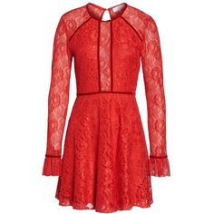 Women's Nsr Chantilly Lace Skater Dress ($90) ❤ liked on Polyvore featuring dresses, red, red flared skirt, skater skirts, red skater skirt, goth dress and sheer-sleeve dress