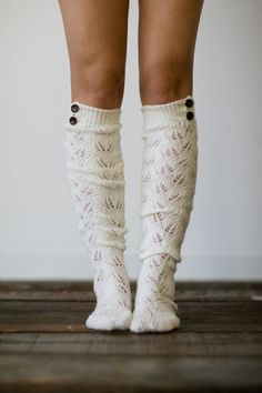 Knitted Boot Socks Women's Long Over The Knee Boot Socks with Wooden Buttons