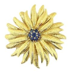 Tiffany & Co. Italy Solid 18KT Yellow Gold & Sapphire Flower Brooch Pin. Get the lowest price on Tiffany & Co. Italy Solid 18KT Yellow Gold & Sapphire Flower Brooch Pin and other fabulous designer clothing and accessories! Shop Tradesy now