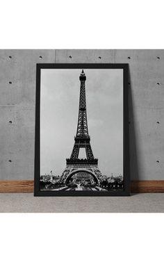 Quadro Decorativo Foto Torre Eiffel Preto E Branco - Decoração Industrial Building, Decorative Frames, Black And White, Towers, Pictures, Buildings, Construction