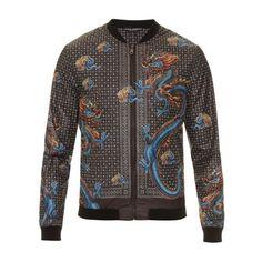 Dolce & Gabbana Dragon-print nylon jacket ($1,166) ❤ liked on Polyvore featuring men's fashion, men's clothing, men's outerwear, men's jackets, black multi, mens nylon jacket, mens slim jacket and mens slim fit jacket