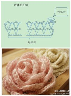 Crocheted rose chart