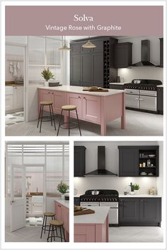 Book a free design service with one of our expert designers and start the journey towards your dream kitchen or bedroom Kitchen Inspirations, Kitchen Cupboard Designs, Kitchen Interior, Pink Kitchen Cabinets, Grey Shaker Kitchen, Grey Kitchen Cupboards, Pink Kitchen Interior, Grey Kitchen Cabinets, Pink And Grey Kitchen