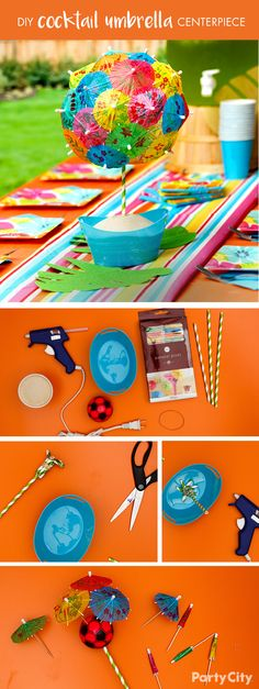 """This summer-themed table will be the """"center"""" of conversation once your guests arrive. Create a cocktail umbrella centerpiece that doubles as a drink garnish! Total Time: 15 mins.1. Stick our mini cocktail umbrella picks into sponge soccer ball. 2. Band together 6 striped paper straws and attach to ball using hot glue. 3. Finally, set finished product inside a plastic pail filled with sand."""