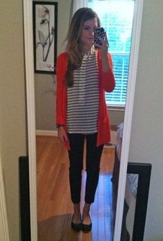 Stripped blouse, jeans, cardigan and flats!! Yes please!!
