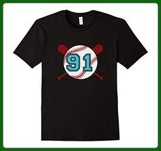 Mens Vintage Baseball Jersey Number T-Shirt #91 Ninety 2XL Black - Sports shirts (*Amazon Partner-Link)
