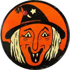 Decorate for Halloween in Vintage style with this Vintage Kirchhof Halloween Tin Litho Noisemaker Ugly Witch #vintagebeginshere