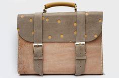 Tasche aus Leder mit Punkten // polka dot satchel bag via DaWanda.com