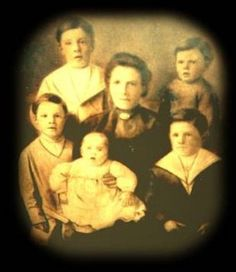 Victims of the Titanic: Margaret Rice and her 5 sons:  Albert 10, Geroge 8, Eric 7, Arthur 4, and Eugene 2 years, 6 months old. Her husband had been killed in an accident, and she had returned to Ireland to recuperate. They were returning to America and were lost in the sinking.