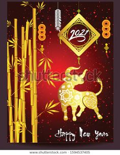 Happy Chinese New Year 2021 Year Stock Vector (Royalty Free) 1594537405 Chinese New Year Gif, Chinese New Year Greeting, Happy New Year Gif, Happy New Year Message, Happy Vietnamese New Year, Chinese Festival, New Year Designs, Cow Art, Chinese Lanterns