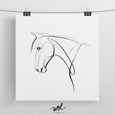 Equine With One Line - Limited Edition 8x8 Horse Print - Minimal Art by WithOneLine on Etsy