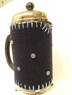 Felted Wool French Press Cozy with blanket stitch in pale blue ribbon