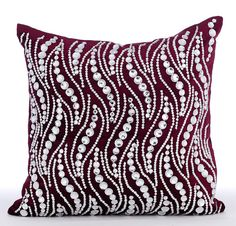Decorative Throw Pillow Covers 16x16 Inches Purple Velvet Crystal Embroidered Home Decor Living Accent Pillows Toss Pillows Crystal Swirls