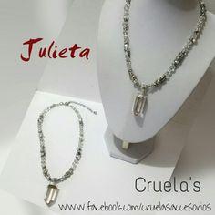 Collar de Cuarzo cristal y cristales chequos!! By Cruelasaccesorios