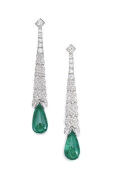 Pair of Emerald and Diamond Earrings The two emerald drops measuring approximately 19.5 x 10.7 x 8.1 mm and 19.3 x 10.8 x 6.9 mm, on braided surmounts set with old mine, old European and single-cut diamonds.