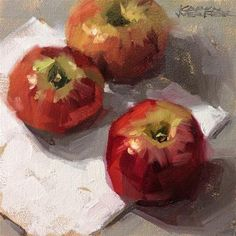 Karen Werner Fine Art: Winesaps -a still life painting in oil Simple Oil Painting, Apple Painting, Oil Painting For Beginners, Still Life Oil Painting, Fruit Painting, Oil Painting Flowers, Painting Videos, Painting Tips, Painting Techniques