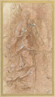 Biagio Puppini | Vrouw en een mascaron, Biagio Puppini, 1521 - 1580 | Een vrouw met een roedenbundel over haar schouder en een schets van een mascaron.