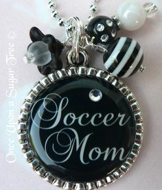 Soccer Mom Black and White Bezel Necklace. $16.00
