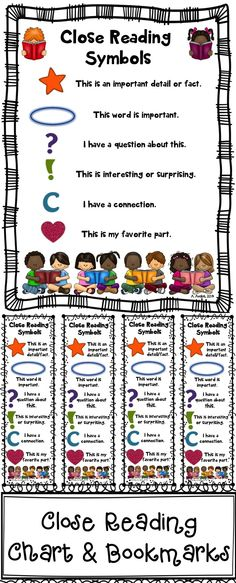 These Close Reading symbol charts & bookmarks are a must have for your close reading lessons! The file includes charts (2 color and 2 blackline masters) and bookmarks (1 color and 1 blackline master). You can use these as anchor charts, as posters, in notebooks, or in your students' close reading folder.