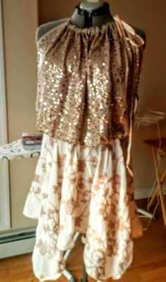 Sequin top and boho style skirt.