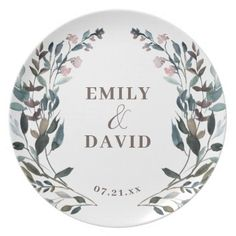 Garden Crest Mauve Purple Floral Wedding Names Dinner Plate ,