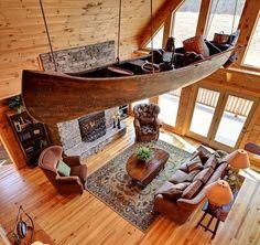 Log Home Interior 90 Cabin Homes, Log Homes, Blue Ridge Log Cabins, Boat Furniture, Log Home Living, Living Room, Log Home Interiors, Boat Decor, Little Cabin