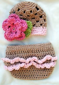Baby Big Flower Hat & Diaper Cover set