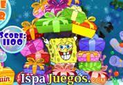 Juego de Bob Esponja Gifts Agogo | JUEGOS GRATIS: El resto de regalos de la navidad Bob esponja los quiere terminar de dar, según el color de tus amigos tendrás que darle el color de regalo evitando que se caigan los demás, se rápido y preciso