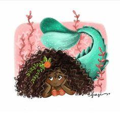 Siren Mermaid, Black Mermaid, Mermaid Art, The Little Mermaid, Black Girl Art, Art Girl, Drawing Utensils, Mermaid Pictures, Mermaids And Mermen