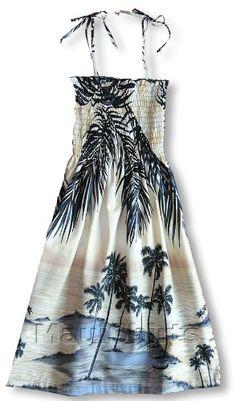 2756cca50c Smocked Sundress - Women s Island Escape Spaghetti Strap Hawaiian Aloha  Tube Top Knee Length Cotton Sun