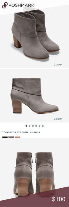 """Cole Haan Grey Suede Ankle Booties size 8 Cole Haan Cassidy Ankle Booties. NWOT. Tried on, but never worn outside. No box. Color is Greystone Nubuck. Side zip. Suede buffed outsold with rubber forefront. Size 8. Heel is 2.75"""". Please ask questions! Cole Haan Shoes Ankle Boots & Booties"""