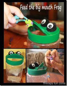 Fine motor fun- feed a frog! Make a frog out of a plastic parmesan cheese container and use a spoon or tweezers to feed small objects to the frog. Occupational Therapy Activities, Motor Skills Activities, Speech Language Therapy, Speech Therapy Activities, Speech And Language, Fine Motor Skills, Toddler Speech Activities, Pediatric Ot, Pom Poms