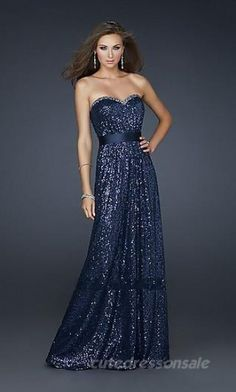A-Line Dark Navy Prom Dresses Strapless Long Prom Dresses 02692