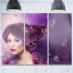 Woman with Hair - Portrait Digital Art Glossy Alumimium 36Wx28H