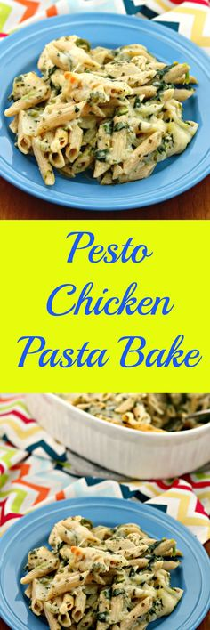 This Pesto Chicken Pasta Bake will surely become a family favorite with a creamy pesto sauce baked with whole wheat penne pasta and chicken and topped with cheese! Baked Pesto Chicken, Chicken Pasta Bake, Penne Pasta, Chicken Casserole, Pasta Recipes, Chicken Recipes, Cooking Recipes, Dinner Recipes, Chicken Meals