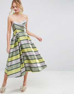 ASOS SALON Bandeau Stripe Midi Prom Dress