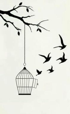 Trendy bird cage tattoo ideas 38 Ideas - - The bird cage is both a house for the chickens and a pretty tool. You can select whatever you need on the list of bird cage versions and get a lot more particular images. Art Drawings Sketches Simple, Girl Drawing Sketches, Doodle Art Drawing, Pencil Art Drawings, Bird Drawings, Easy Drawings, Beautiful Drawings, Tattoo Sketches, Stylo Art
