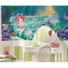 Little Mermaid Ariel Wall Mural Wall Decal- RoomMates    Underwater and Princess theme. Perfect for any little girl who dreams about being a mermaid!