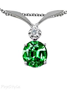 Tommaso Design Emerald & Genuine Diamond Pendant