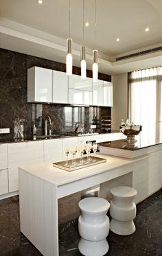 Dark Marble , Bright Kitchen ( my style ) love the stools