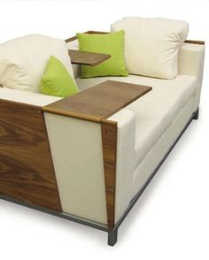 sofa with flip up tables - perfect for tiny spaces