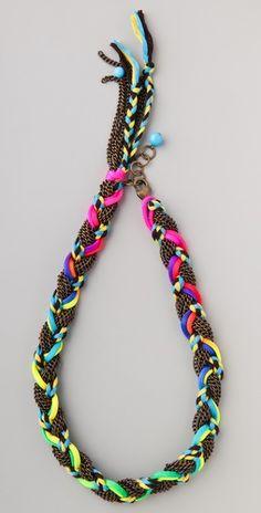 Adia Kibur Chain & Neon Braided Necklace $84.00