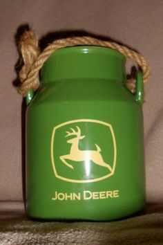 John Deere Ceramic Milk Can With Rope Handle Great Condition