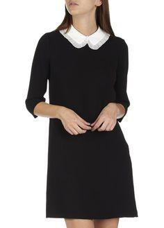 robe courte droite col claudine amovible reminiscence noir by claudie pierlot