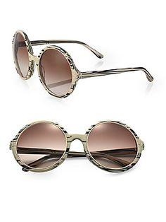 Tom Ford Eyewear Carrie Marbleized Round Sunglasses
