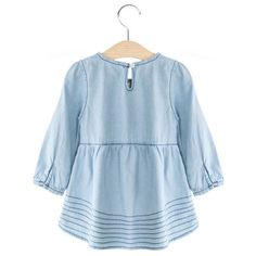 Breathable Round Neck Long Sleeve Embroidered Girls Denim Dress #shoes, #jewelry, #women, #men, #hats