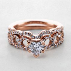 Rose gold Heart Shaped Diamond Wedding Ring Sets