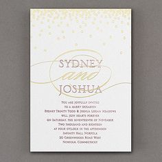 All Spangled Invitation with Gold http://partyblock.carlsoncraft.com/3285-RZ38830WS-All-Spangled-Monogram--Invitation--White-Shimmer.pro